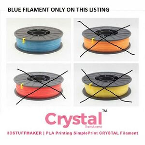 New 3d Stuffmaker Pla 3d Printer Crystal Filament 1 75mm 0 75 Kg Blue