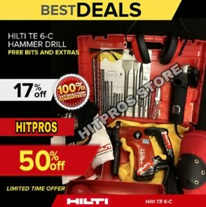 Hilti Te 6 c Hammer Drill Excellent Free Angle Grinder Bits Fast Ship