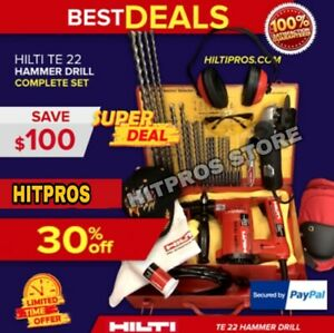 Hilti Te 22 Drill Preowned Free Angle Grinder Bits And Extras Fast Ship