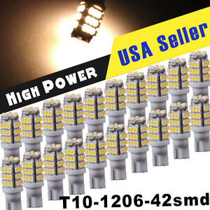 20x Warm White T10 921 194 Rv Trailer 42 Smd 12v Backup Reverse Led Lights Bulbs