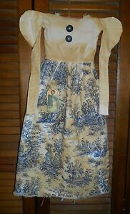Grungy Wall Dress W Hanger Primitive Decor Blue Toile Ivory Mourning Dress