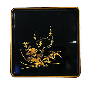Antique Black Lacquered Tray With Hand Painted Scene From Japan Meiji Period