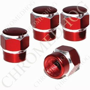 4 Red Silver Contrast Cut Billet Aluminum Valve Caps Car Truck Motorcycle