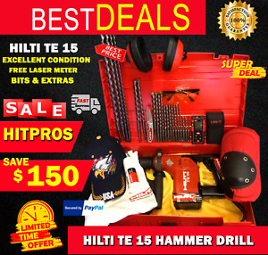 Hilti Te 15 Excellent Condition Free Laser Meter Bits And Extras Fast Ship