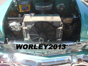 3 Core Aluminum Radiator Fan For Chevy Bel air W cooler V8 1955 1956 1957