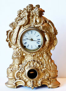 N Muller Victorian Clock Working Condition Gorgeous Gold Roman Paris France Fab