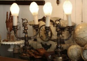 Rare Pair Antique Bronze Candelabra Lamps Figural France French European Lamp