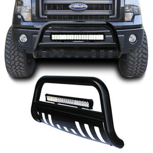 Black Bull Bar Bumper Grille Guard 126w Led Light For F 150 04 17 expedition 03