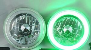 97 16 Jeep Wrangler Tj Jk 7 Green Led Ccfl Halo Round Chrome Clear Headlights