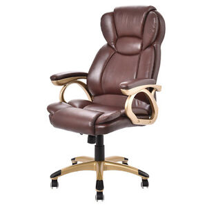 Ergonomic Office Chair Pu Leather High Back Executive Computer Desk Task Brown