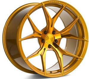 20x9 Rohana Rfx5 5x120 35 Gloss Gold Rims set Of 4
