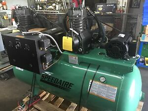 Speedaire 3 Ph Horizontal Tank Mounted 7 5hp X 2 120 Gal Air Compressor 35wc63
