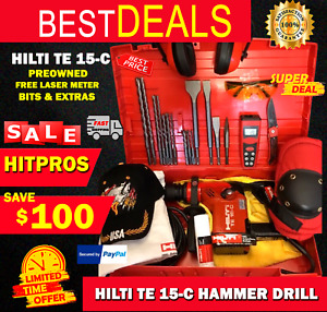 Hilti Te 15 c Hammer Drill Preowned Free Laser Meter Bits Extras Fast Ship