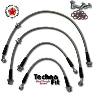 Front Rear Techna Fit Stainless Steel Braided Brake Lines Nis 1425 Fits Sentra