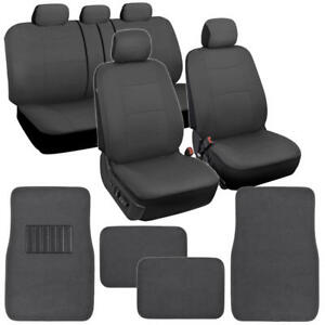 Car Seat Covers Floor Mats Set Split Bench Solid Dark Gray Polyester Cloth
