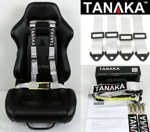 1 Tanaka Universal Gray Grey 4 Point Buckle Racing Seat Belt Harness