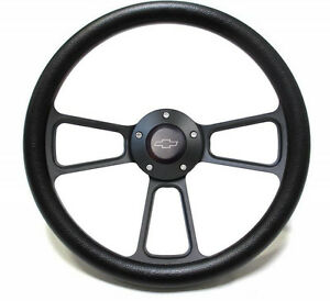 14 Black Steering Wheel W Black Chevy Engraved Horn Button Free Shipping