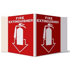 Ptd182 3 d Rigid Plastic Fire Extinguisher Arrow Sign 5 X 6 package Of 5