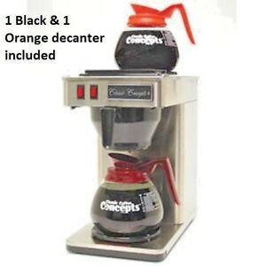 New Coffee Brewer Pour over 2 Warmers Stainless Steel W 2 Decanters