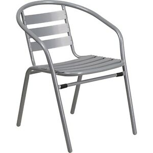 Flash Furniture Silver Metal Restaurant Stack Chair W Aluminum Slats New