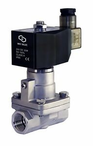 High Pressure Stainless Steel Steam Solenoid Process Valve 24v Dc Ptfe 1 2 Inch