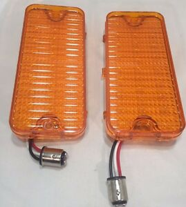 Pair 2 Led Amber Turn Signal Parking Light For 1967 1968 Chevy Pickup Truck