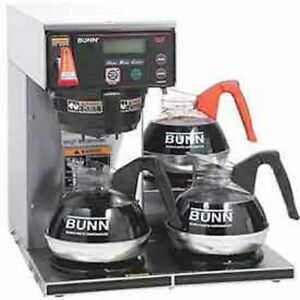New Bunn 12 Cup Digital Dual voltage Coffee Brewer W Lcd 3 Lower Burners