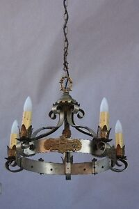 1920s Spanish Revival 5 Light Chandelier W Pewter Gold Tone Fits Tudor 9679