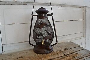 New Rustic Reindeer Lantern Tin Railroad Reproduction Lamp Primitive Country