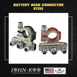 2 X Battery Terminals Cable Clamp Connector Positive Negative Heavy Duty Car