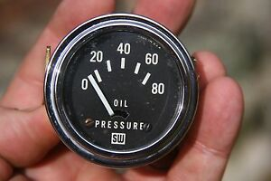 Vintage Stewart Warner 2 1 16 Brass Electric Oil Pressure Gauge 6v 1937