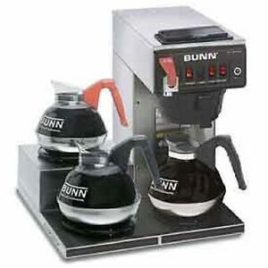 New Bunn 12 Cup Automatic Brewer With 3 Lower Warmers Cwtf15