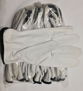 10 Doz Case Goat Skin Grain Leather Drivers Work Safety Gloves ppe Size L