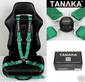 1 Tanaka Universal Green 4 Point Camlock Quick Release Racing Seat Belt Harness