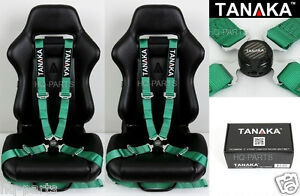 X2 Tanaka Universal Green 4 Point Camlock Quick Release Racing Seat Belt Harness
