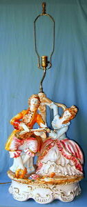 Large Vintage Capodimonte Porcelain Music Couple Lamp Beautiful Fringed Shade