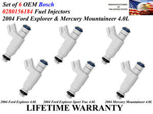 6x Genuine Bosch Fuel Injectors For 2004 Ford Explorer Mercury Mountaineer 4 0l