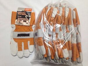 12 Pair Pack Branded Work Glove Closeout Heavy Duty A Grade Goat Leather L