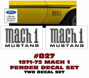 Ge 827 1971 72 Mustang Mach 1 Fender Decal Set Two Decals Licensed