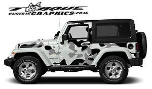 Urban Camo 2 Door Vinyl Decal Set For Jeep Wrangler Vehicles Custom Graphics