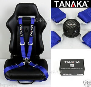 1 Tanaka Universal Blue 4 Point Camlock Quick Release Racing Seat Belt Harness