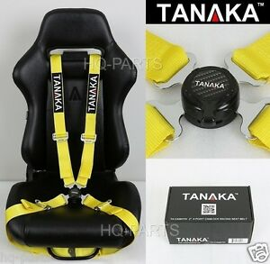 1 Tanaka Universal Yellow 4 Point Camlock Quick Release Racing Seat Belt Harness