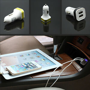 Car Auto Dual Usb Port Plug Cigarette Socket Lighter Phone Power Adapter Charger