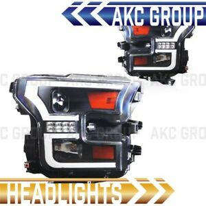 Black Housing Led Drl Bar Projector Lens Headlights For 2015 2016 Ford F 150