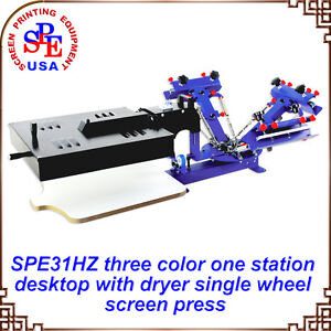 3 Color 1 Station With Dryer Screen Printing Press Machine Printer Equipment