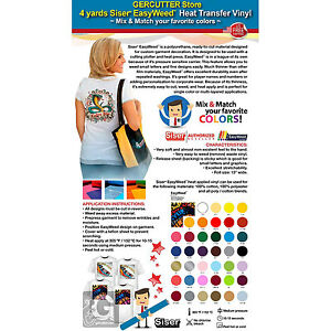 Gercutter Store 4 Yards Siser Easyweed Heat Transfer Vinyl mix Match Colors