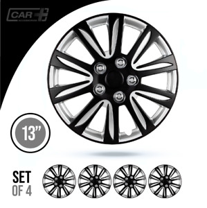 13 Inch Hubcaps Car marina Bay 2 Tone Black And Silver Abs Set Of 4 Pieces