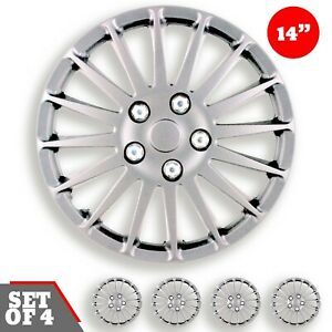 Set 4 Hubcaps 14 Wheel Cover Monza Silver Abs Quality Easy To Install Universal