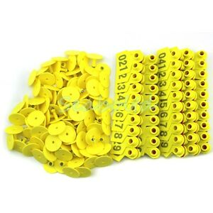 Yellow 1 100 Number Plastic Livestock Ear Tag Animal Tag For Goat Sheep Pig