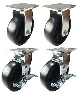 6 X 2 Heavy Duty Plastic Caster 2 Rigids 2 Swivels With Brake